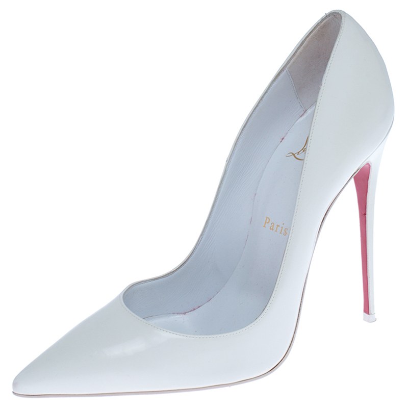 Christian Louboutin White Leather Pointed Toe Pumps Size 39