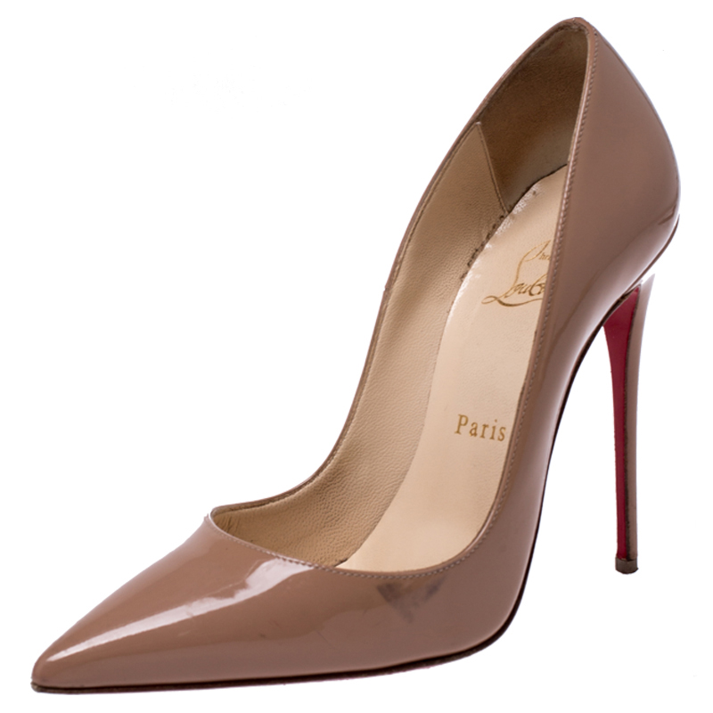 Christian Louboutin Beige Patent Leather So Kate Pointed Toe Pumps Size 37
