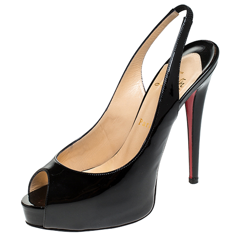 Christian Louboutin Black Patent Leather Private Number Peep Toe Slingback Sandals Size 38.5