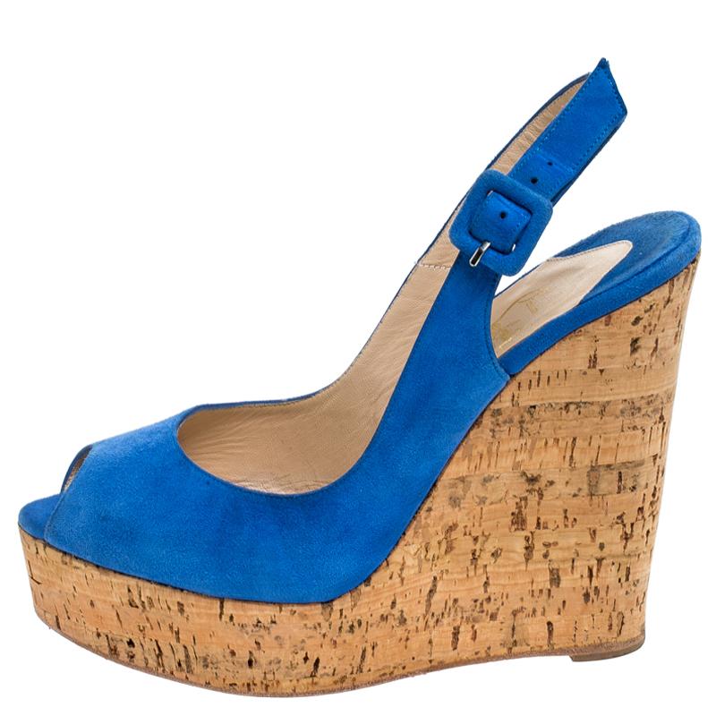 Christian Louboutin Blue Suede Une Plume Peep Toe Slingback Cork Wedges Size 38.5