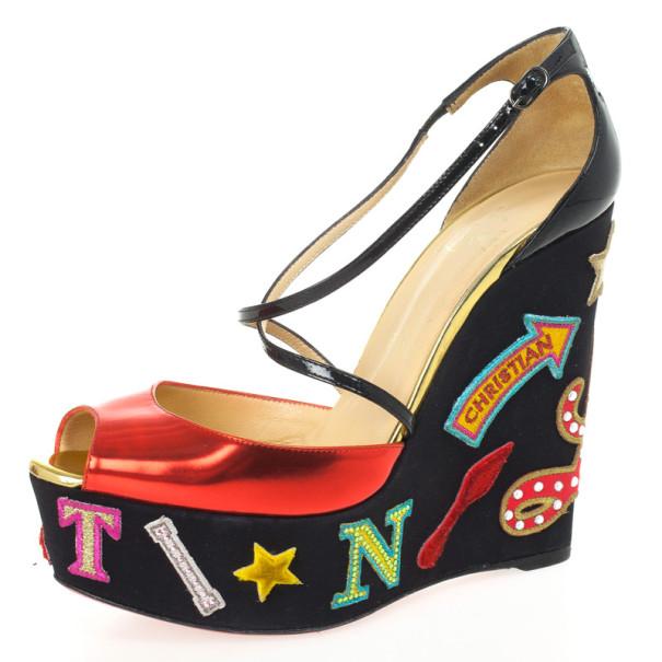 40b34c80884 Christian Louboutin Loubi Zeppa Crisscross Wedges Sandals Size 39.5