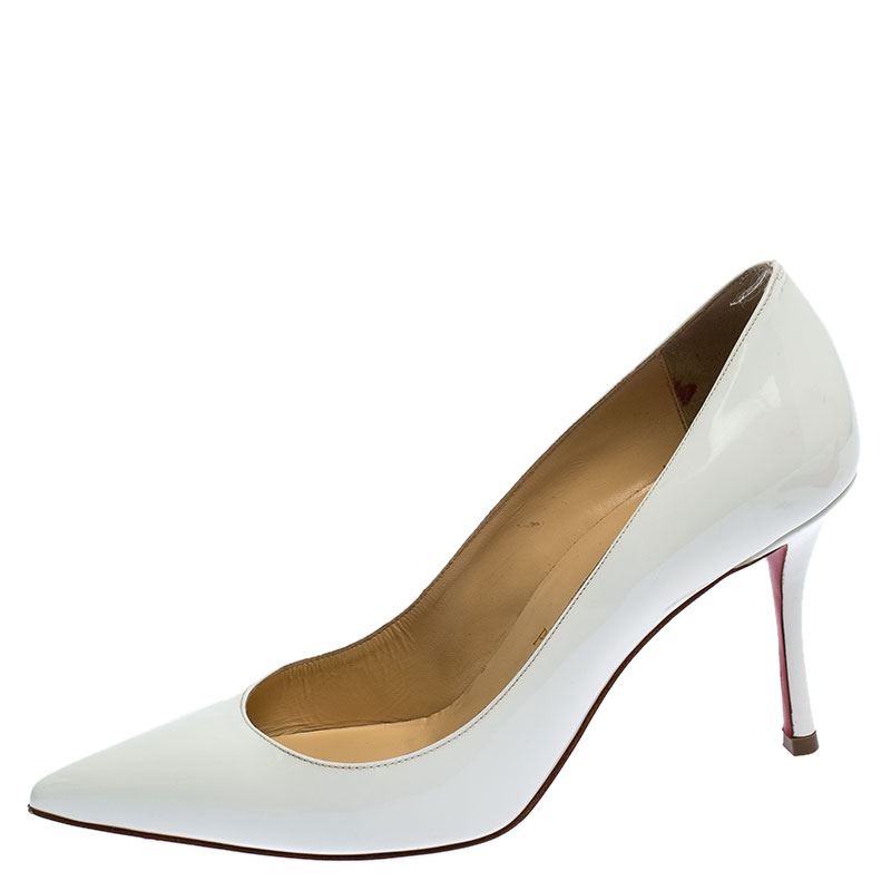Christian Louboutin White Patent Leather So Kate Pointed Toe Pumps Size