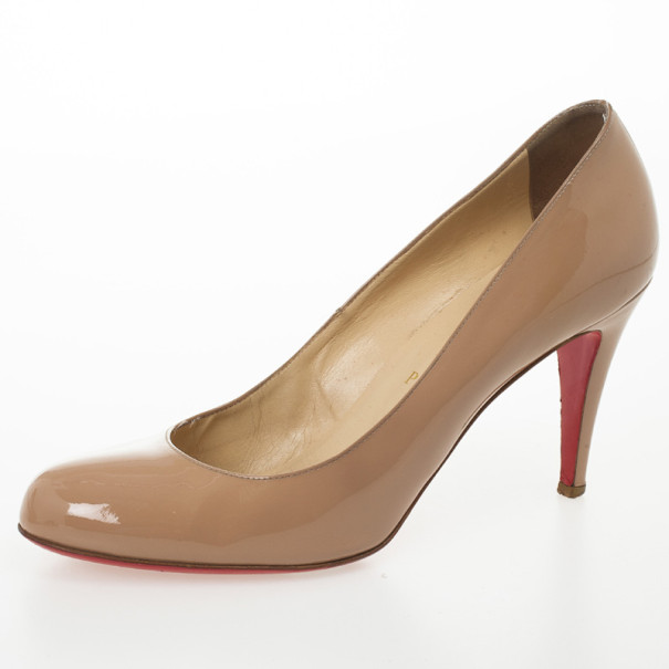 c1742ad0042 Christian Louboutin Nude Patent Simple Pumps Size 41