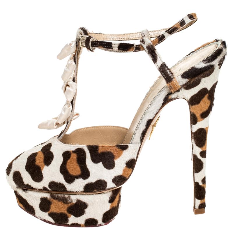 Charlotte Olympia Brown/White Leopard Print Calfhair et Satin Arc T-Strap Sandales à Plateforme Taille 39