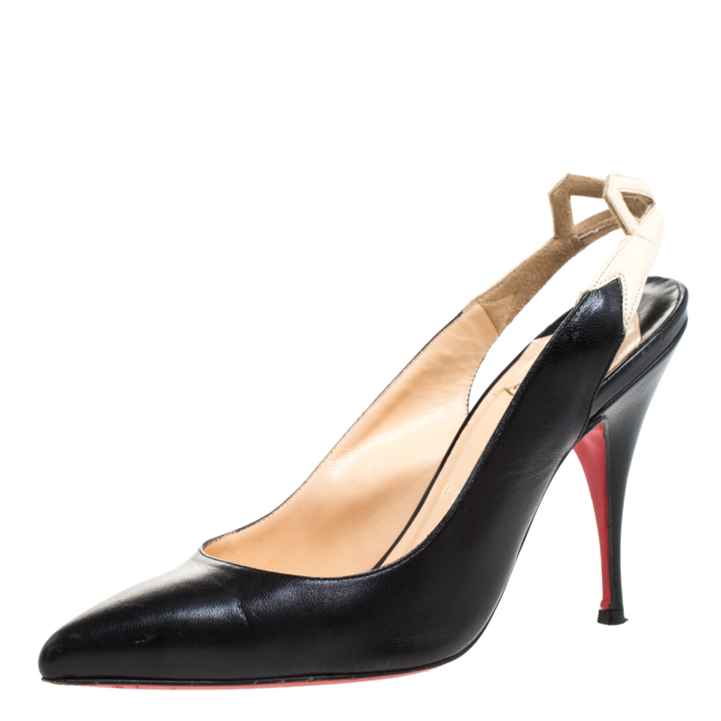Christian Louboutin Black Leather And White Bow Slingback Pointed Toe Sandals Size 36