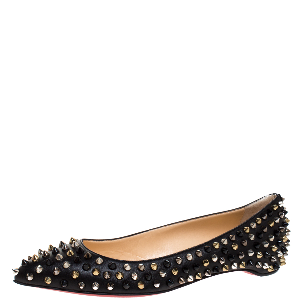 Christian Louboutin Black Leather Pigalle Spike Ballet Flats Size 37.5