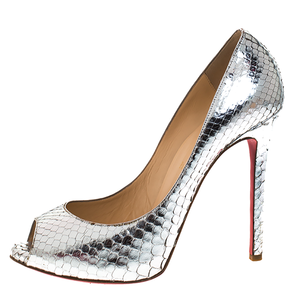 Christian Louboutin Metallic Silver Python Leather Flo Peep Toe Pumps Size