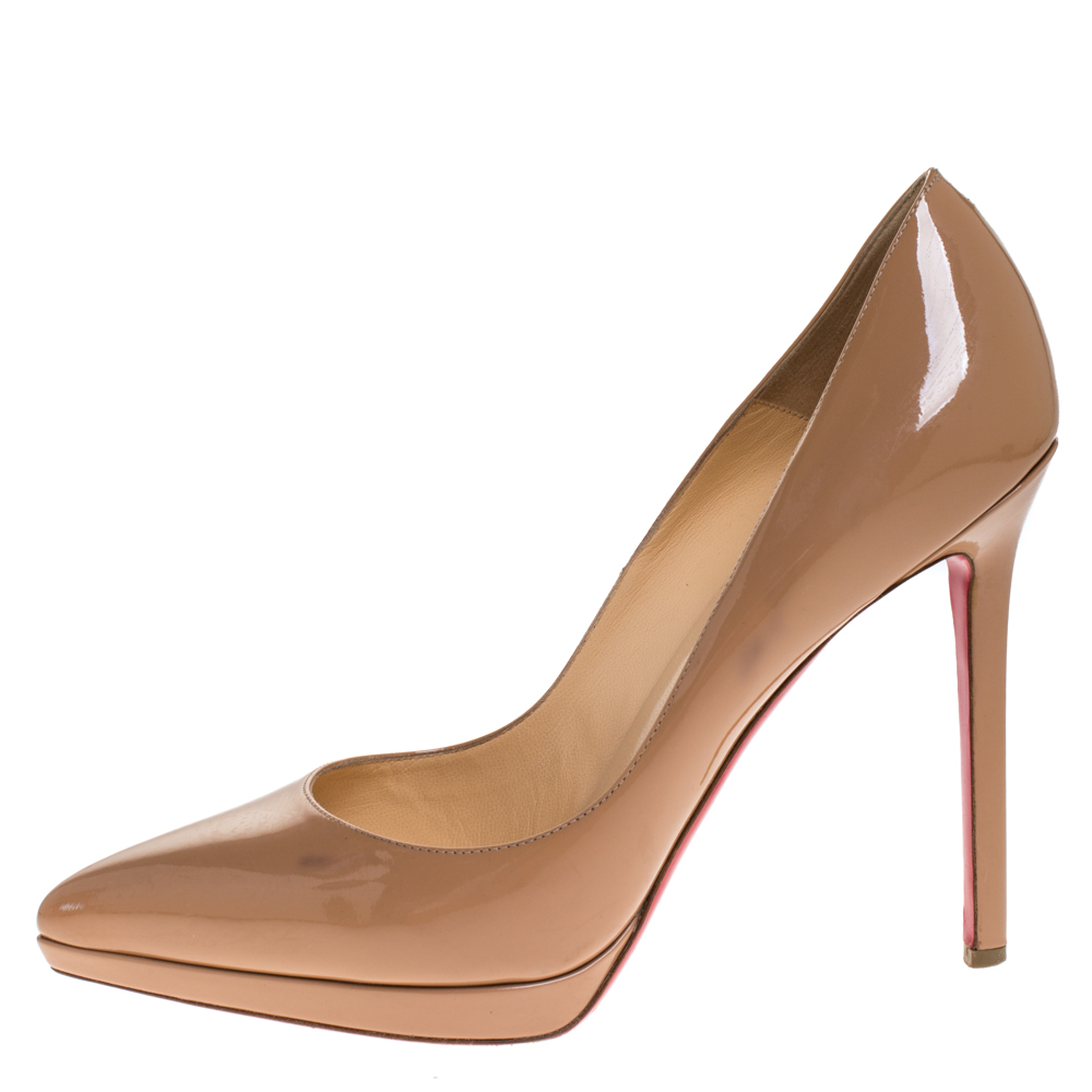 Christian Louboutin Beige Patent Leather Decollete Platform Pointed Toe Pumps Size