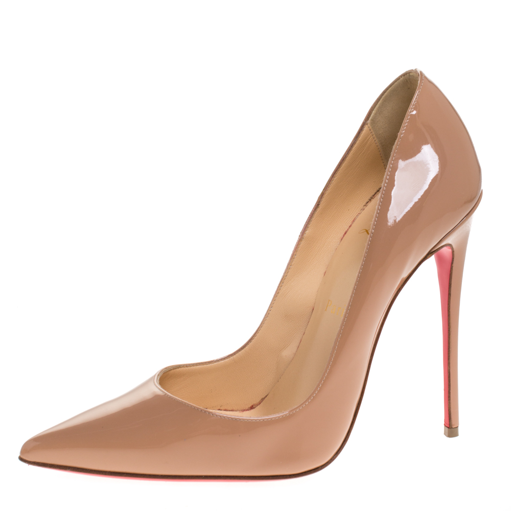 Christian Louboutin Beige Patent Leather So Kate Pointed Toe Pumps Size 38