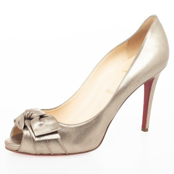 837b73f29b ... Christian Louboutin Metallic Leather Madame Butterfly Peep Toe Pumps  Size 39.5. nextprev. prevnext