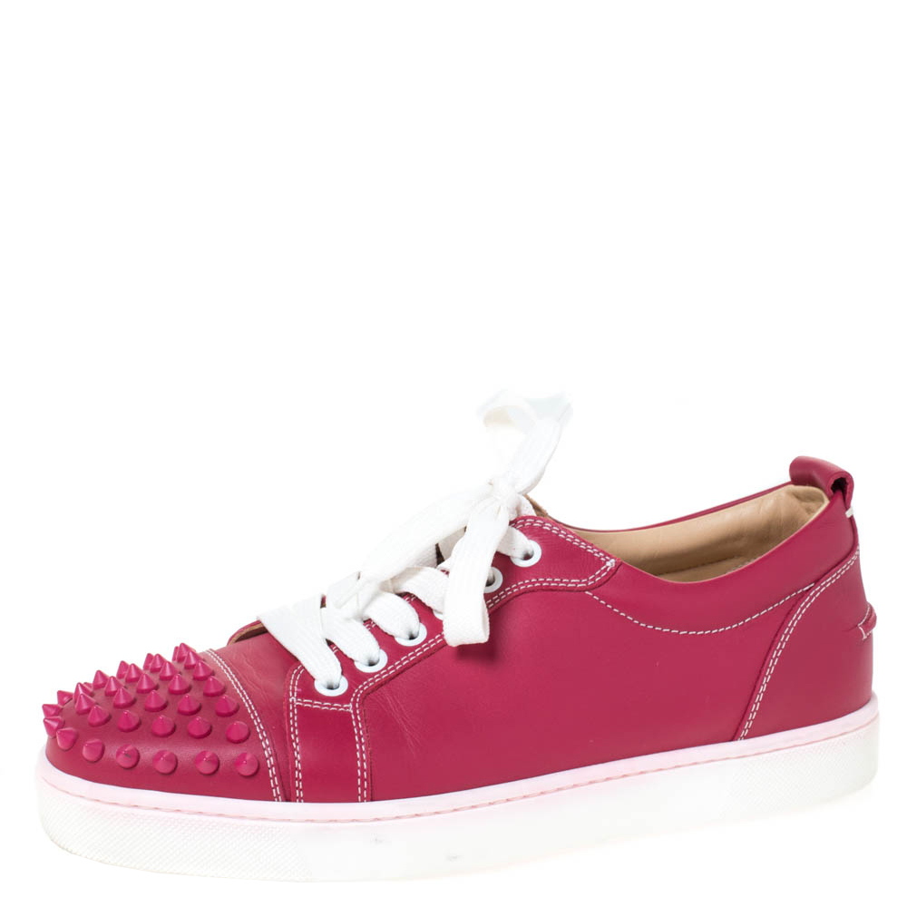 Christian Louboutin Pink Leather Spiked Louis Junior Sneakers Size 39
