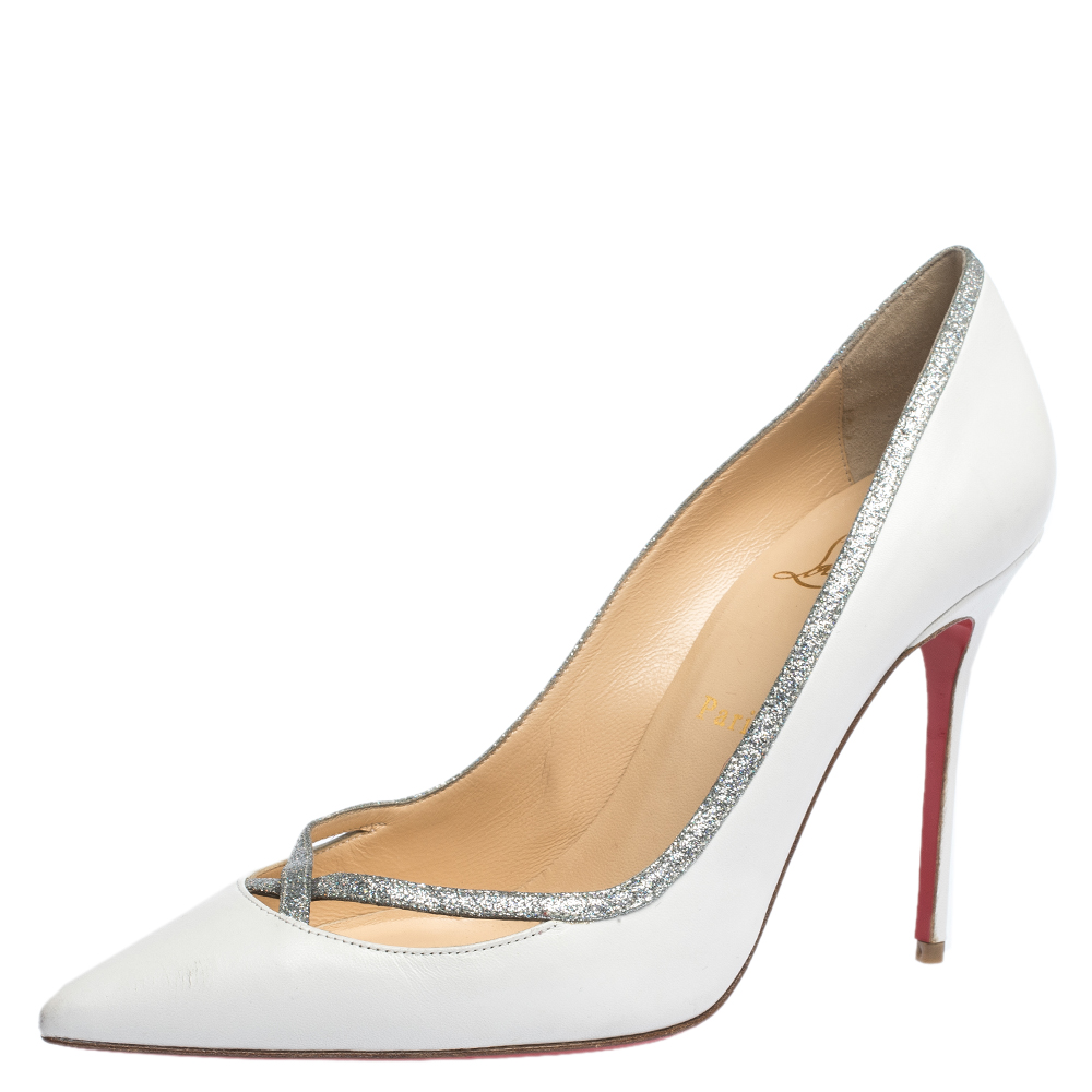 Christian Louboutin White Leather And Glitter Trim Pointed Toe Pumps Size 40