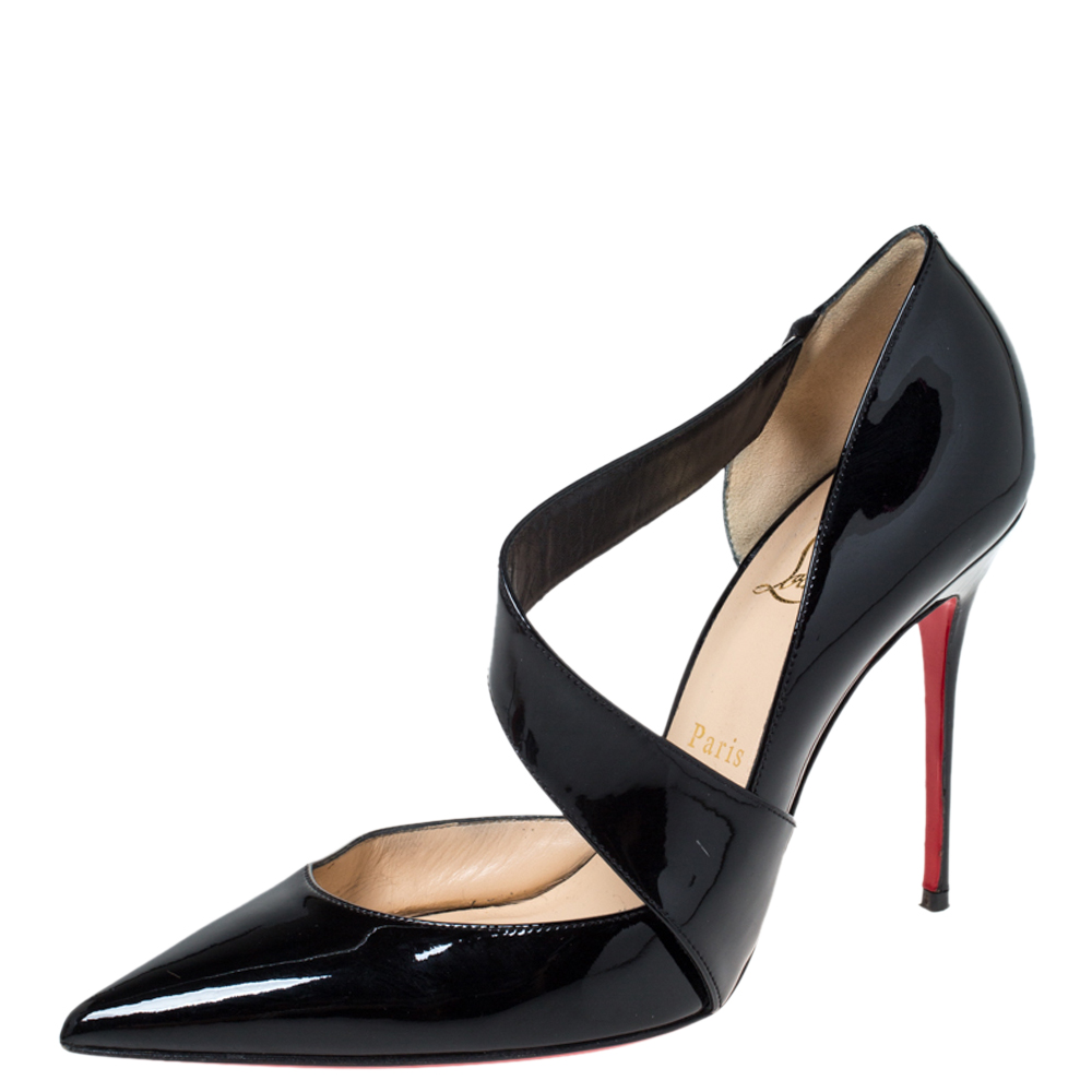 Christian Louboutin Patent Leather D'Orsay Cross Strap Pointed Toe Pumps Size 40