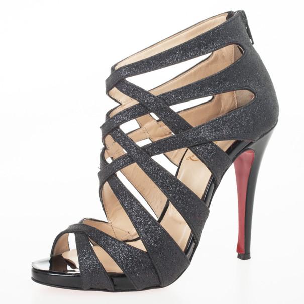 quality design 124c6 6b576 Christian Louboutin Black Glitter 'Balota' Strappy Sandals Size 36.5