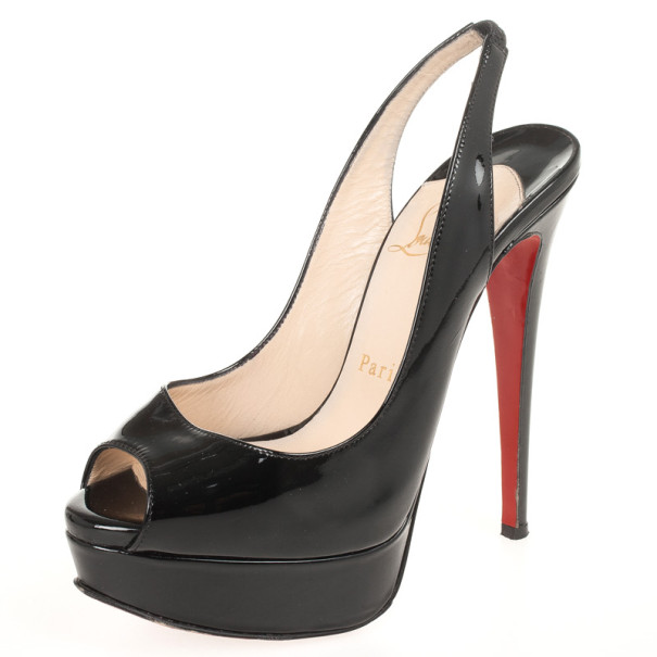 buy popular 1040c 0c647 Christian Louboutin Black Patent Lady Peep Toe Slingback Sandals Size 35