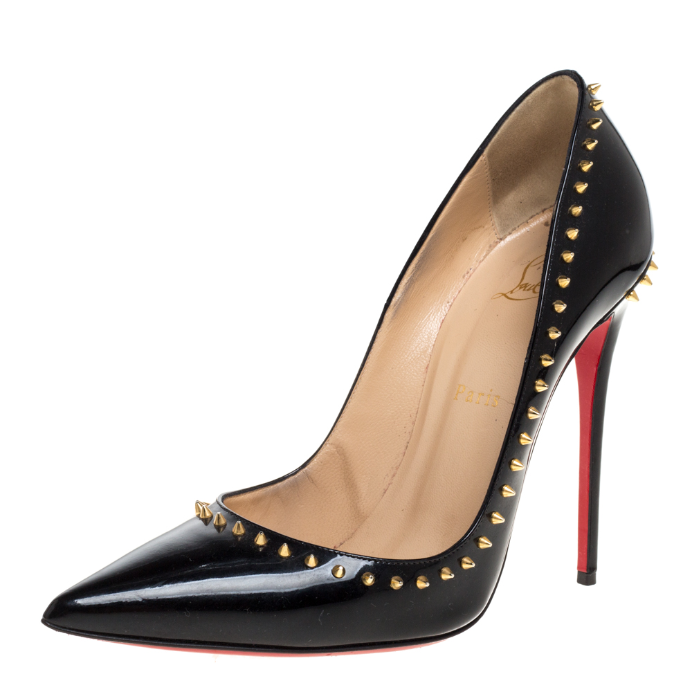 Pre-owned Christian Louboutin Black Studded Patent Leather Anjalina Pointed Toe Pumps Size 40