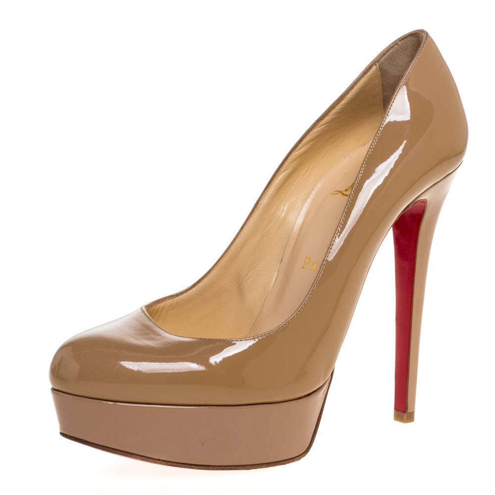 Pre-owned Christian Louboutin Beige Patent Leather Bianca Platform Pumps Size 38.5