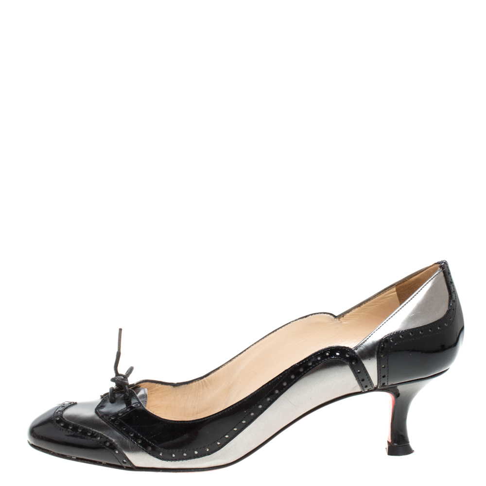 Christian Louboutin Black/Grey Patent Brogue Derby Detail Round Toe Pumps Size 38.5  - buy with discount