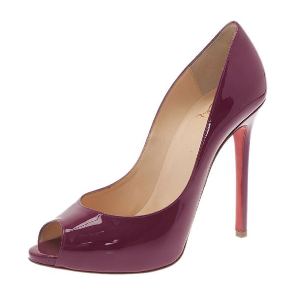 289a97276e7 Buy Christian Louboutin Burgundy Patent You You Peep Toe Pumps Size ...