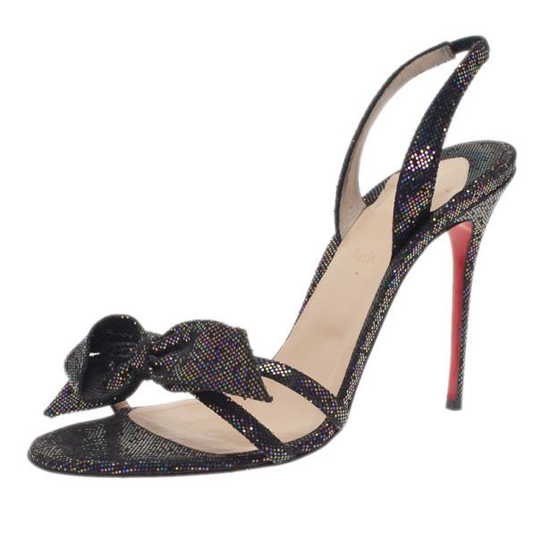 3ecdc935ace Buy Christian Louboutin Black Grusanda Glitter Bow Sandals Size 40 3327 at  best price