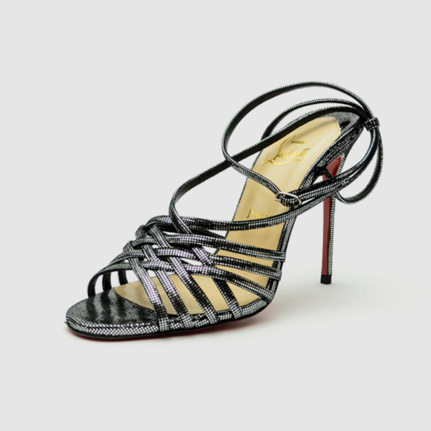 Christian Louboutin Black Strappy Metallic-Square 'Beverly' Sandals Size 39