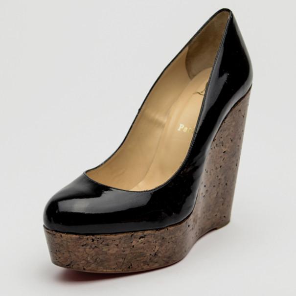 280518a0542 Christian Louboutin Coroclic Black Patent Cork Wedges Size 39.5
