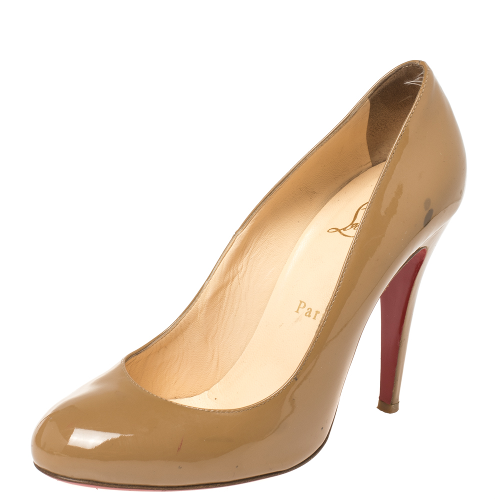 Christian Louboutin Beige Patent Leather Simple Pumps Size 38