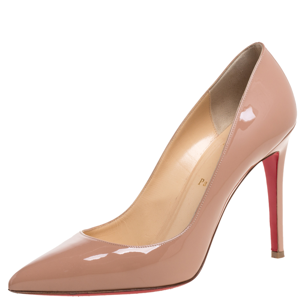 Christian Louboutin Beige Patent Leather So Kate Pointed Toe Pumps Size 40