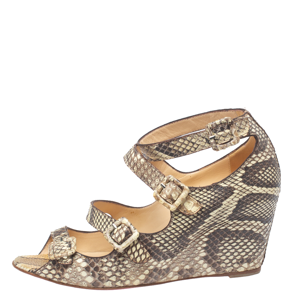 Christian Louboutin Beige Python Caged Buckle Wedge Sandals Size 38  - buy with discount