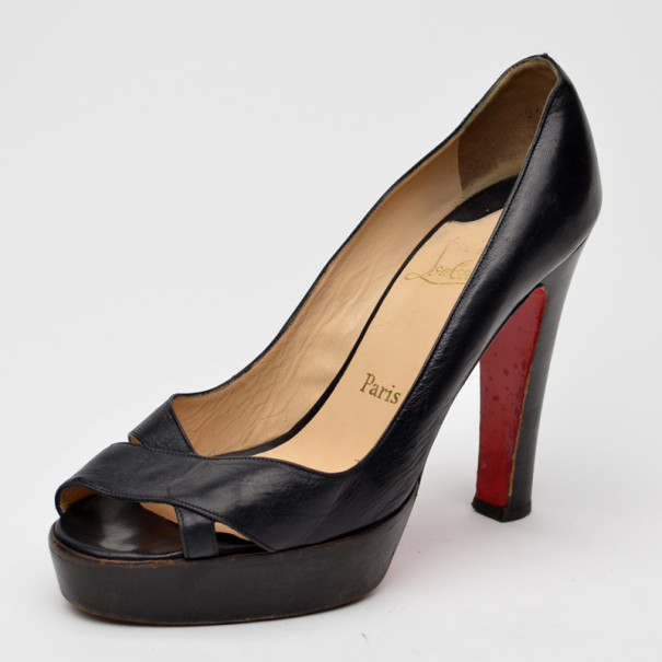 c685f3c192 ... Christian Louboutin Black Leather Peep Toe Crossover Pumps Size 40.  nextprev. prevnext