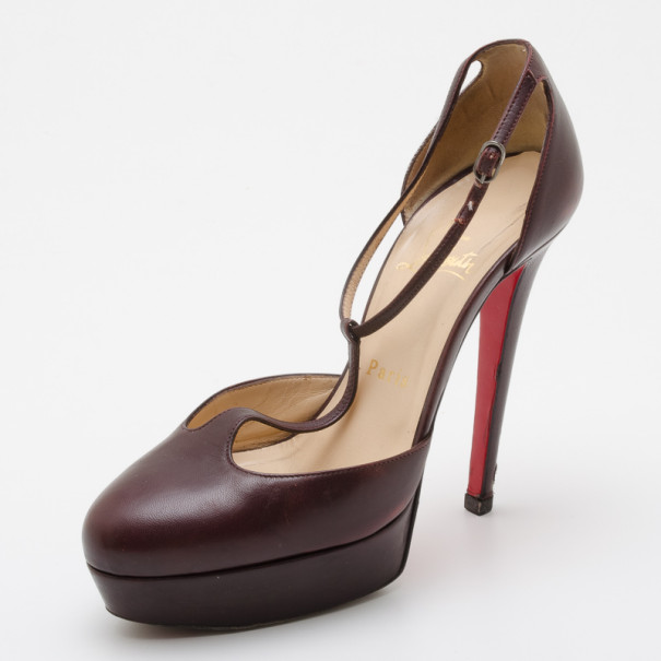 1b4fecc9ec5a Buy Christian Louboutin Top LA 140 Leather T-Strap Pumps Size 37 36503 at  best price