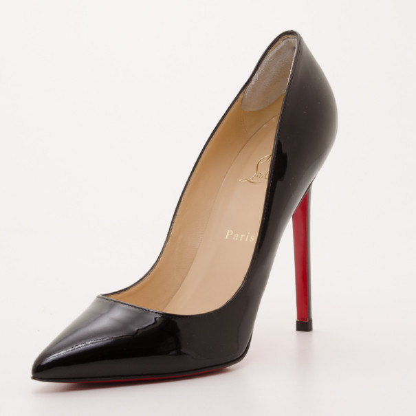 sports shoes 79188 0b02d Christian Louboutin Pigalle 120 Black Patent Pointed Toe Pumps Size 41.5