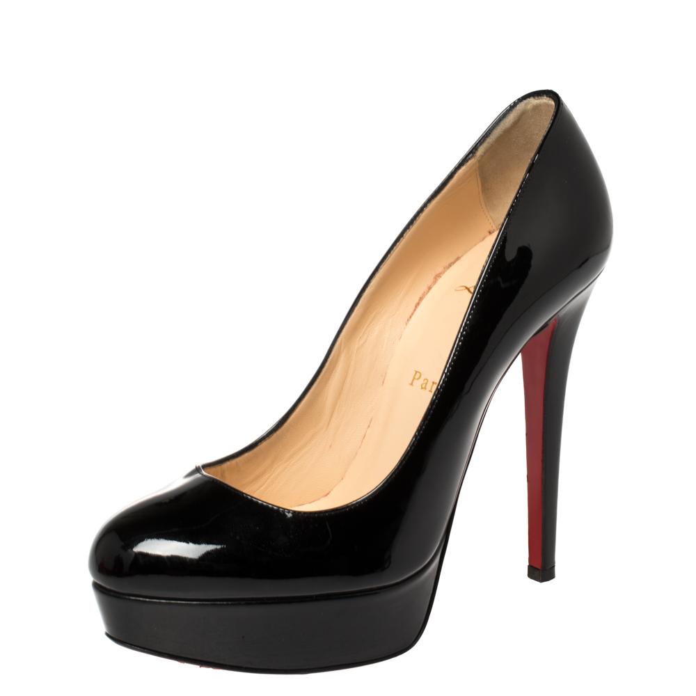 Pre-owned Christian Louboutin Black Patent Leather Bianca Platform Pumps Size 37