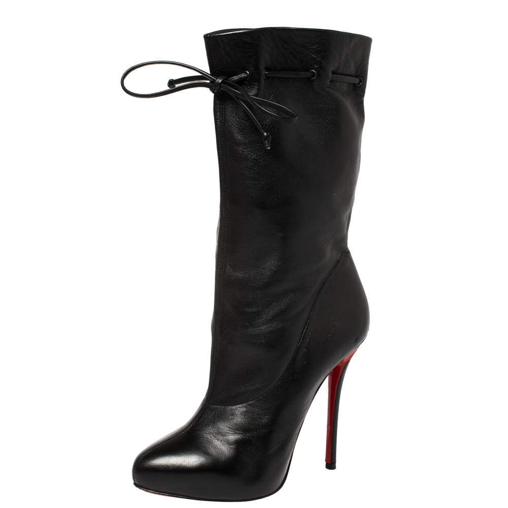 Pre-owned Christian Louboutin Black Leather Valentine Mid Calf Boots Size 38.5