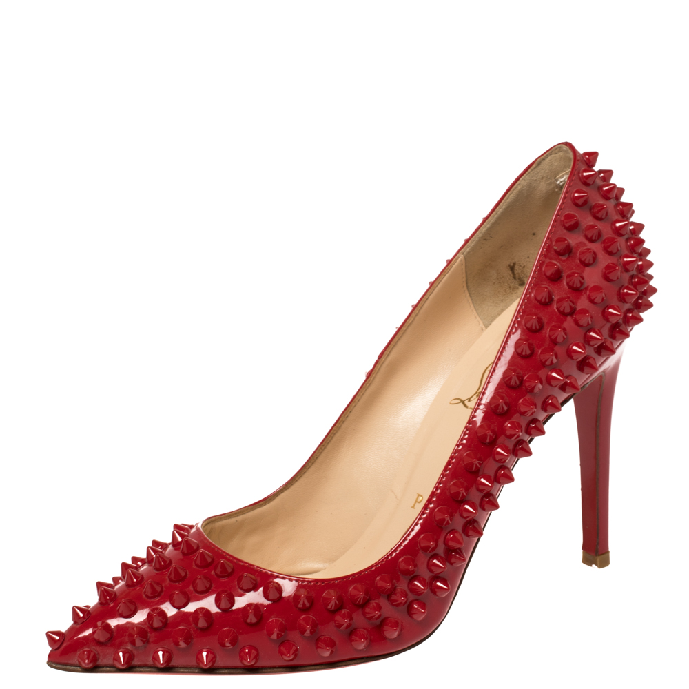 Christian Louboutin Red Patent Leather Pigalle Spikes Pumps Size 37.5