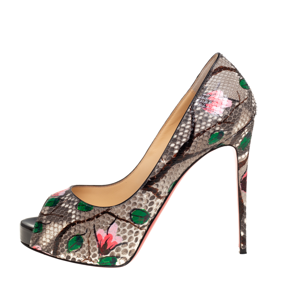 Christian Louboutin Grey Floral Print Python New Very Prive Peep Toe Pumps Size 37  - buy with discount