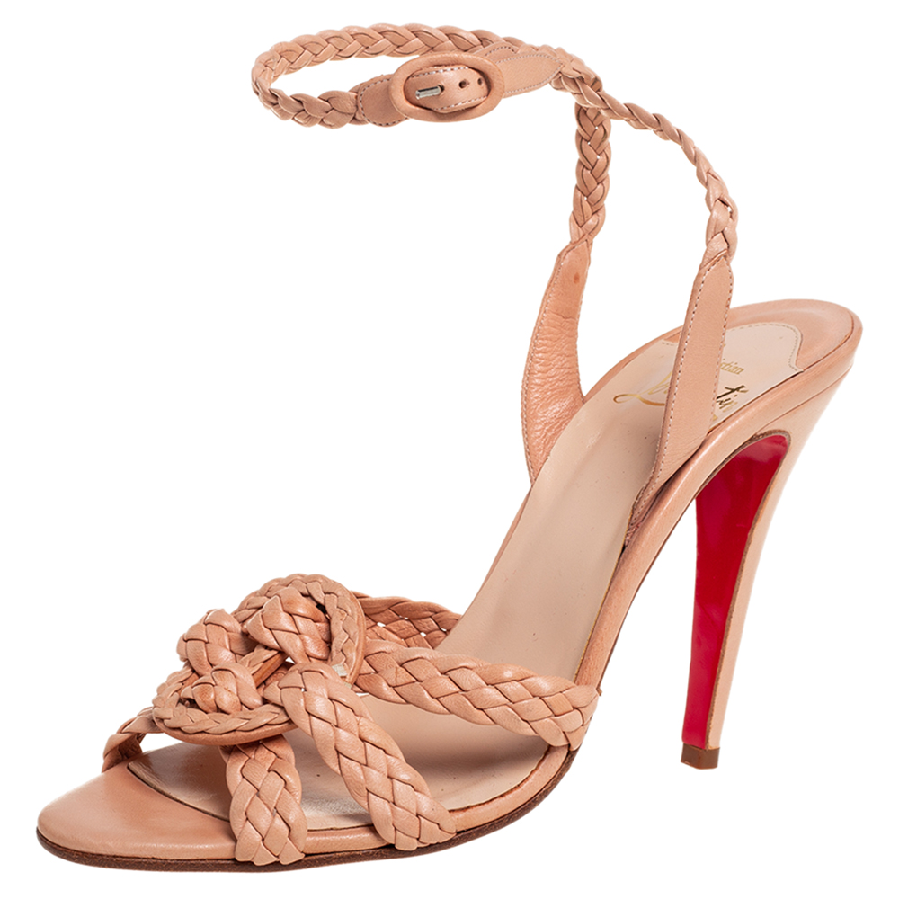 Pre-owned Christian Louboutin Beige Leather Woven Leather Sandals Size 40
