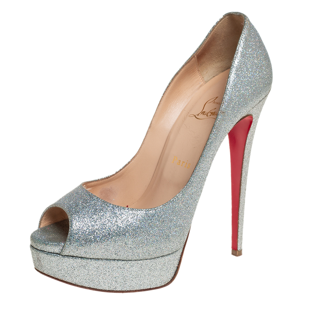 Pre-owned Christian Louboutin Multicolor Glitter Leather Lady Peep Toe Platform Pumps Size 39