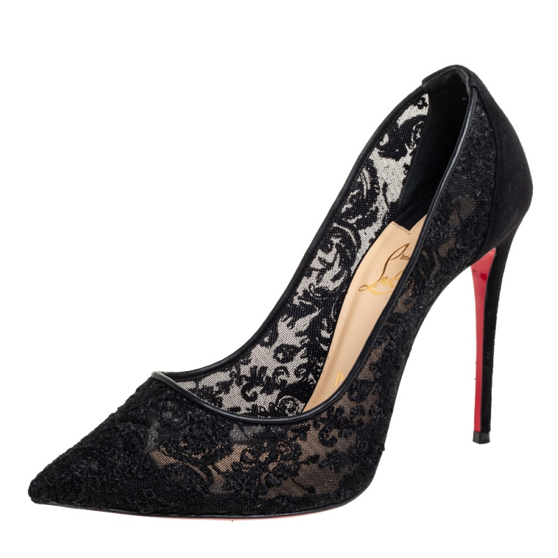 Pre-owned Christian Louboutin Black Lace And Suede So Kate Pumps Size 38.5