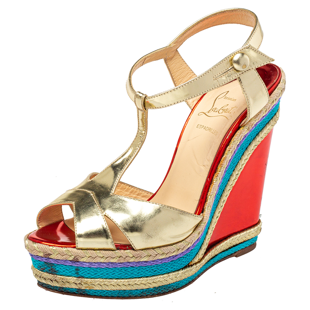 Pre-owned Christian Louboutin Gold Leather T-strap Trotolita Wedge Platform Sandals Size 38