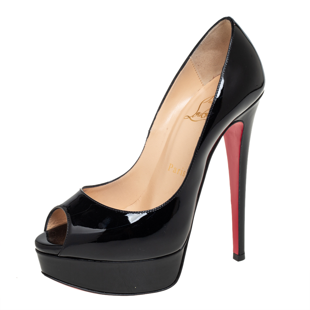 Pre-owned Christian Louboutin Black Patent Leather Lady Peep Pumps Size 35.5