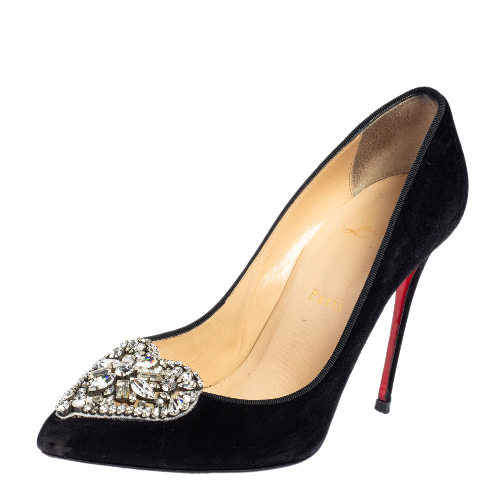 Pre-owned Christian Louboutin Black Crystal Embellished Suede Diva Cora Pointed Toe Pumps Size 39