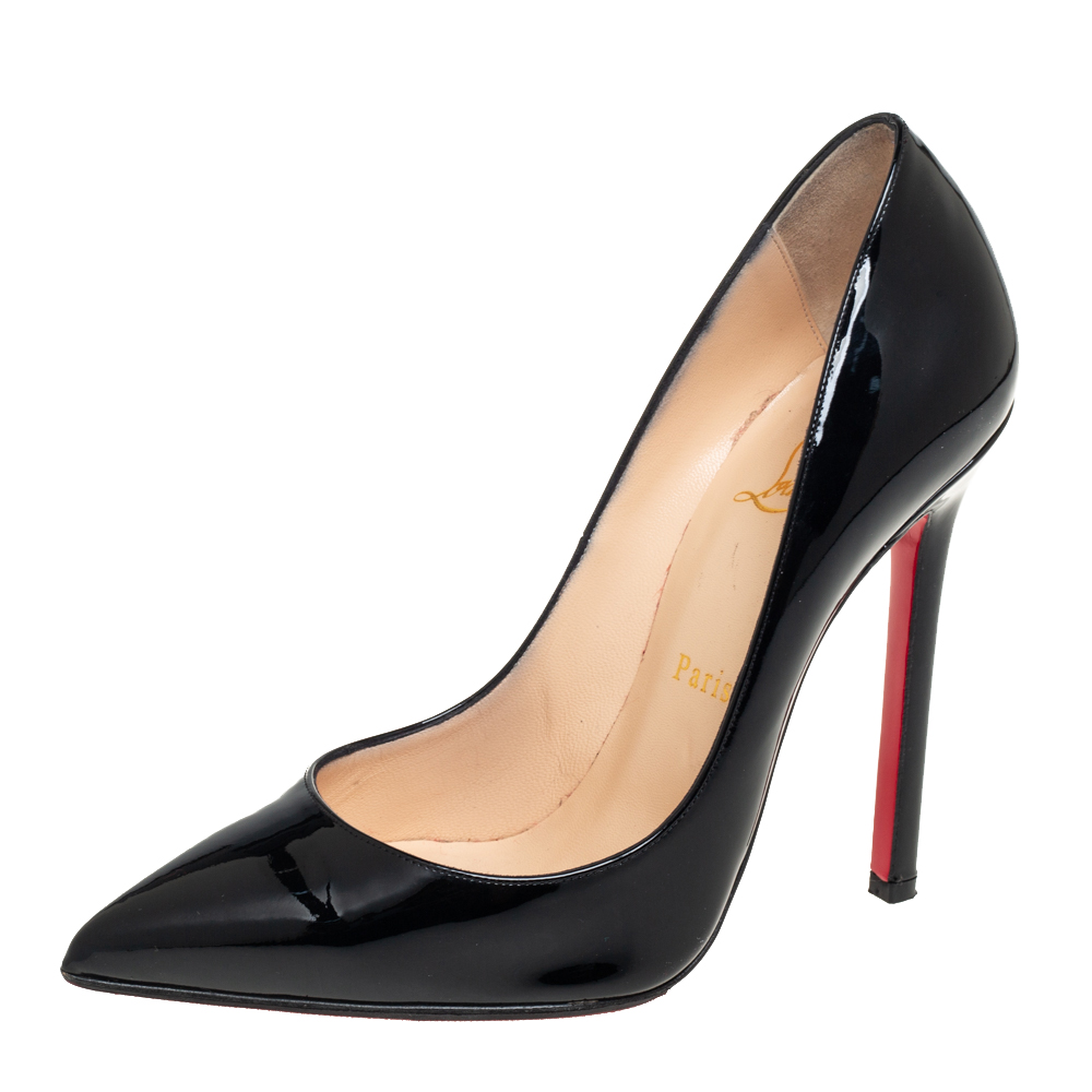 Pre-owned Christian Louboutin Black Patent Leather Pigalle Pointed Toe Pumps Size 38