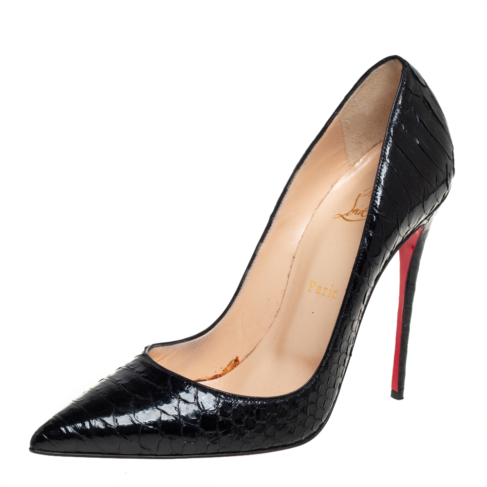 Pre-owned Christian Louboutin Black Python Leather So Kate Pumps Size 40