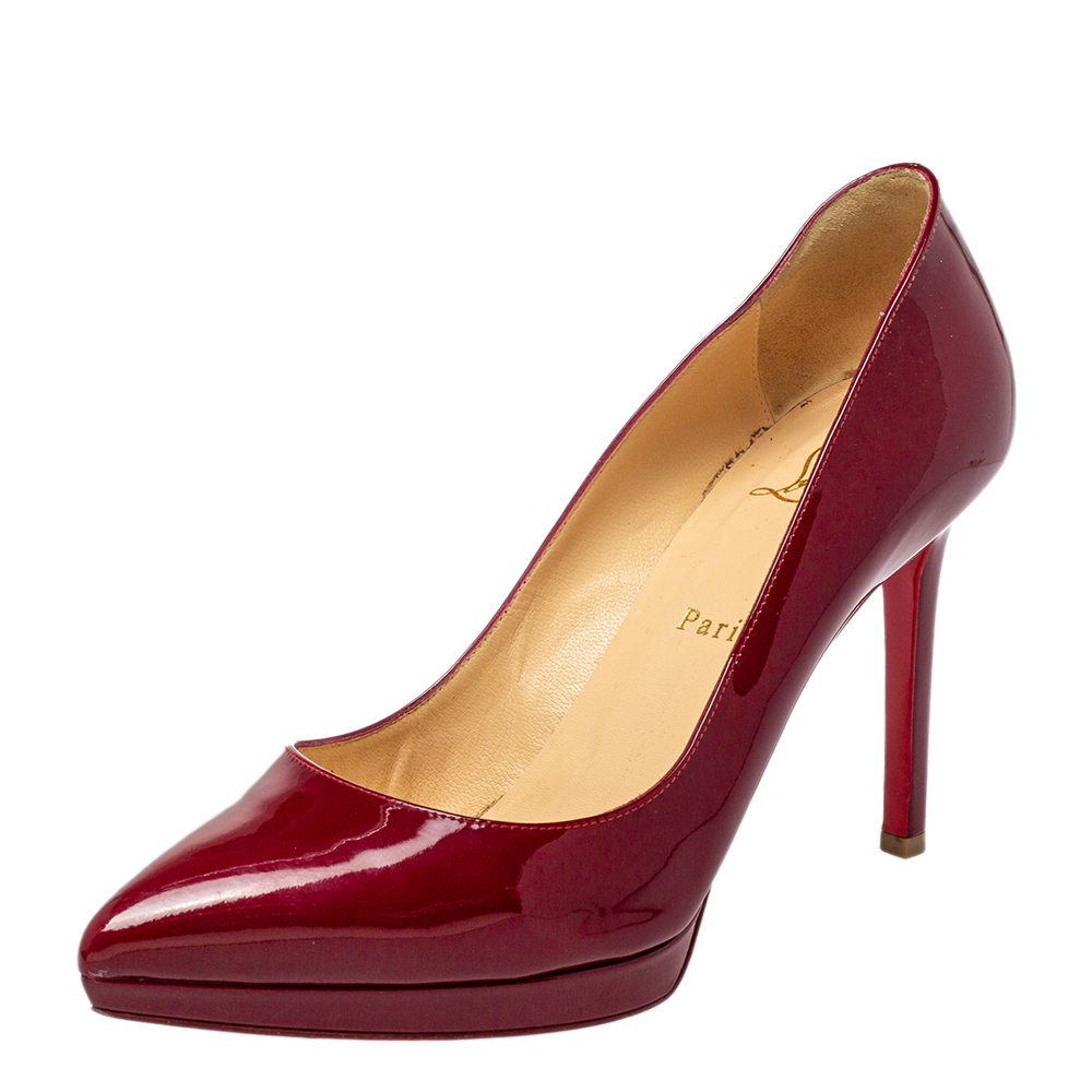 Pre-owned Christian Louboutin Red Patent Leather Pigalle Plato Pointed Toe Pumps Size 39