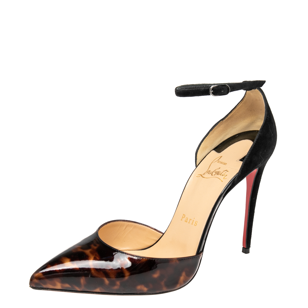 Pre-owned Christian Louboutin Black/gold Patent Leather And Suede Uptown Sandals Size 37.5