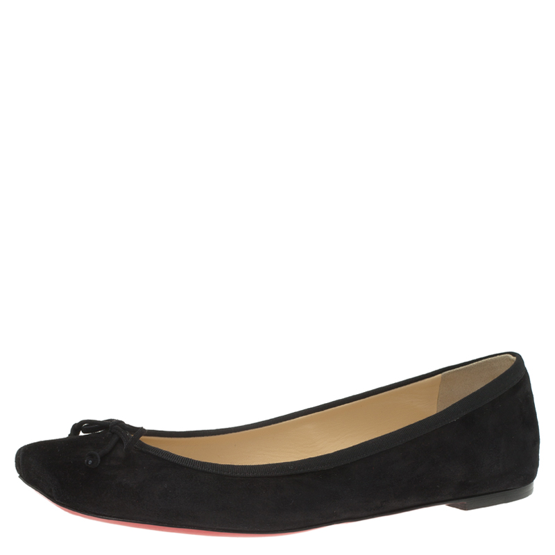c205f458245 Buy Christian Louboutin Black Suede Rosella Square Toe Ballet Flats Size  40.5 60525 at best price