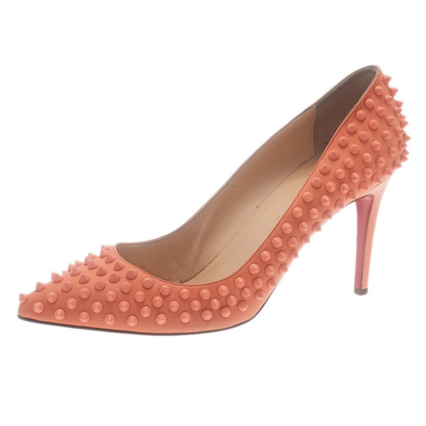 5c806a90390 Buy Christian Louboutin Peach Pigalle Spikes Pumps Size 42 7619 at ...
