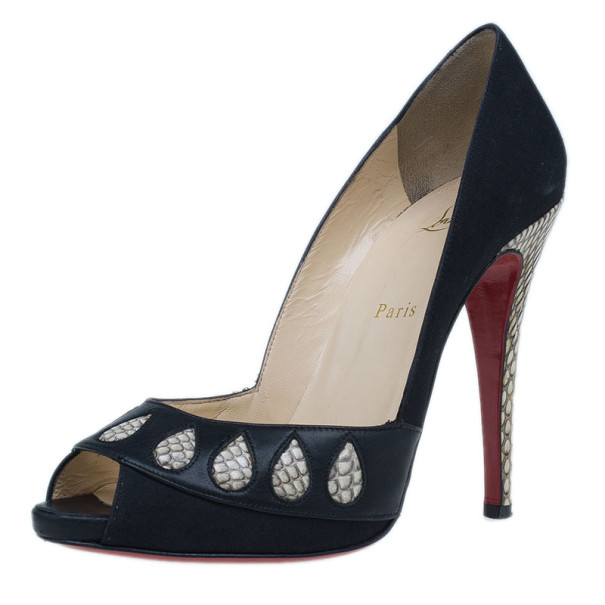 buy christian louboutin black satin python trim peep toe pumps size rh theluxurycloset com