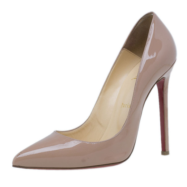 Christian Louboutin Nude Patent Pigalle Pumps Size 40